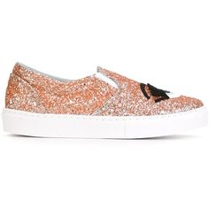 Chiara Ferragni Glitter Sneakers (330 CAD) ❤ liked on Polyvore featuring shoes, sneakers, orange leather shoes, leather footwear, leather trainers, orange shoes and genuine leather shoes