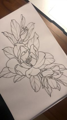 Floral Tattoo Design, Flower Tattoo Designs, Flower Tattoos, Arm Tattoos, Body Art Tattoos, Sleeve Tattoos, Tatoos, Blackwork, Magnolia Tattoo
