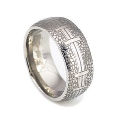 Spectacular Black titanium rings were engraved into football it is ideal as wedding bands anniversary