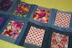 Denim Quilt as you go fabric/denim blocks