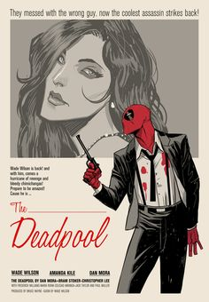 The Deadpool Wade Wilson stars in a retro movie poster, art by... #comics #art