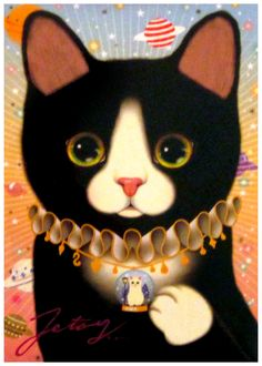 Jetoy Calico Cat with Collar Postcard