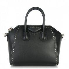 GIVENCHY Smooth Calfskin Mini Studded Antigona Black