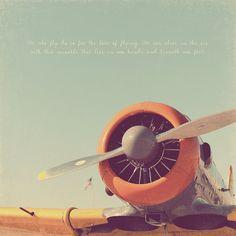 Airplane Photo Print Art Orange Grey Gray Charcoal Aviation Propeller Fly Sky - 8 x 10