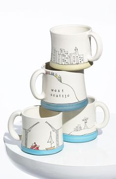 Seattle Cityscape Mugs - Downing Pottery