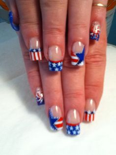 Acrylic nails hand painted with versions of RED WHITE & BLUE 4th of July  theme... bang.