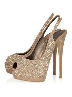 1 3/ Platform  Heel Height Champagne Sheepskin Shiny Slingbacks Highheels