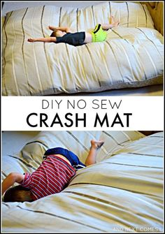 How to make a DIY no sew crash mat for kids - great for kids with autism and/or sensory processing disorder! from And Next Comes L Homemade crash pad for kids: find out how to make a crash mat for kids using materials you likely have at home Sensory Tools, Sensory Diet, Sensory Issues, Sensory Therapy, Sensory Bags, Sensory Motor, Sensory Bottles, Diy Sans Couture, Crash Mat
