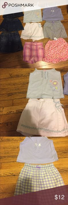 Girls 3T lot!! 2 outfits 2 shirts 1 skirt 2 skorts Girls 3T lot. Skirts skirts and shorts lot Matching Sets