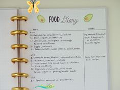 bullet journal page ideas How to Use a Bullet Journal to Reach Your Health and Fitness Goals: Keeping a Food Diary<br> A bullet journal could be the key to a whole new you. Here are ideas for how to create a journal likely to lead you to optimal health and fitness. List Of Bullet Journal Pages, Bullet Journal Health, Bullet Journal Inspiration, Journal Ideas, Journal List, Journal Diary, Diet Journal, Fitness Journal, Fitness Planner