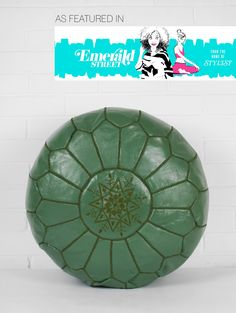 Moroccan Leather Pouffe, Khaki (apparently, just looks green to me). Moroccan Pouffe, Furniture Inspiration, Hot Pink, Cushions, Things To Sell, Leather, Rest, Presents, House