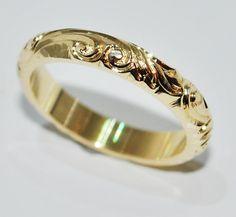 beautifully engraved bespoke wedding ring