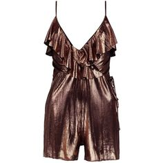 Boohoo Georgia Frill Wrap Playsuit | Boohoo (40 AUD) ❤ liked on Polyvore featuring jumpsuits, rompers, red romper, ruffle romper, flounce romper, playsuit romper and ruffle rompers