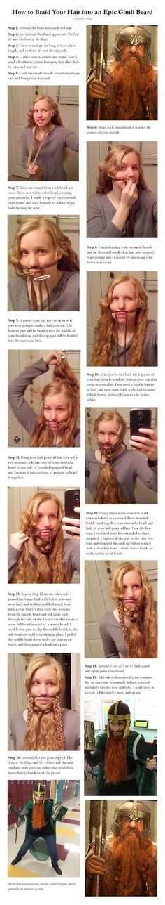 geek, beards, cosplay, hair tutorials, halloween costumes, funni, the hobbit, long hair, braids