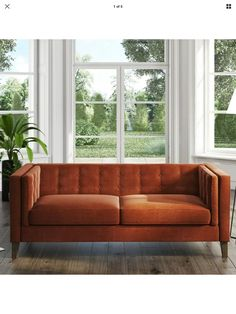 Buy Bailey Orange Velvet Sofa - Seats 3 from - the UK's leading online furniture and bed store Velvet Corner Sofa, Velvet Couch, Velvet Armchair, Orange Couch, Sofa Uk, Fabric Armchairs, Sofa Seats, Sofa Upholstery, Sit Back And Relax