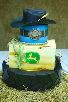 John Deere Tire and Cowboy hat cake Pretty Cakes, Cute Cakes, Beautiful Cakes, Amazing Cakes, Western Cakes, Cowboy Cakes, Unique Cakes, Creative Cakes, Mini Tortillas
