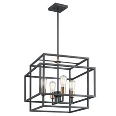Kichler Taubert Black Mid-Century Geometric Pendant Light at Lowe's. The Taubert™ 4 light pendant features a contemporary look with its Black with Natural Brass accents. Industrial inspired with its layered Foyer Pendant Lighting, Industrial Pendant Lights, Home Lighting, Kitchen Lighting, Lighting Ideas, Lighting Sale, Modern Lighting, Outdoor Lighting, Track Lighting