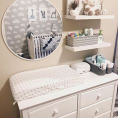 Neutral Baby Nursery - Dresser with Changing TableYou can find Nursery organization and more on our website.Neutral Baby Nursery - Dresser with Changing Table Baby Nursery Diy, Baby Nursery Neutral, Baby Room Decor, Nursery Room, Nursery Mirror, Neutral Nurseries, Nursery Ideas Neutral Small, Nautical Baby Nursery, Small Nurseries