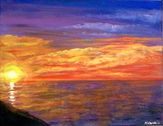 """Candy in the Sky, brilliant sunset painting on 16"""" x 20"""" gallery canvas"""