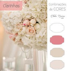 Cores Claras para Decoração de Casamento - Rosas, bege e branco