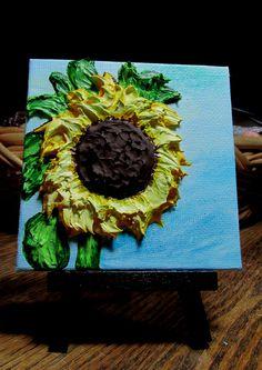 Sunflower Yellow,Original Impasto,Canvas Signed ,4X4 Mini,Impressionism,Landscap #Impressionism