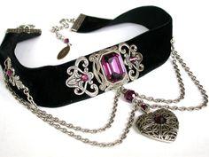 Gothic Black Velvet Choker Purple Swarovski Crystal Heart Locket Choker Necklace Gothic Jewelry