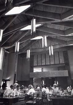 """Ron Thom (1923-1986) a Trent University: Champlain College Dining Hall (The Great Hall)  """"like eating in your friendly cathedral"""" Ron Thom, Time, July 18, 1969"""