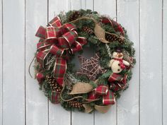 Snowman Wreath Holiday Wreath Winter Wreath by KathysWreathShop
