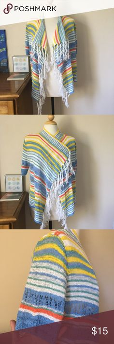 "Ruby Rd Fringe Knit Striped Open Cardigan Amazing colors and craftsmanship. Intricate open Knit / Crochet design. The colors are bright and fun. Some signs of wear amongst the stitches but overall in good condition. Measurements taken while flat: pit-pit20.5"", Sleeve-10.5"", length-21"". Live long and poshper 🖖🏼 Ruby Rd. Sweaters Cardigans"