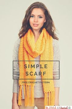 Brilliant Photo of Simple Scarf Crochet Pattern Simple Scarf Crochet Pattern Free Pattern Friday Crochet Scarf Pattern From YarnspirationsThe Mediterranean Crochet: Free, easy crochet scarf pattern for beginners.Scarf Crochet Pattern uses 2 Caron sim Crochet Scarves, Crochet Shawl, Crochet Clothes, Crochet Stitches, Crocheted Scarf, Knitting Scarves, Knit Cowl, Crochet Granny, Crochet Simple