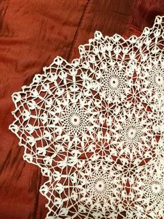 This is an altar cloth made by Marla. It was featured about a year ago, and has been completed. It's beautiful! Marla originally saw a piece of lace that had no pattern and recreated the p…