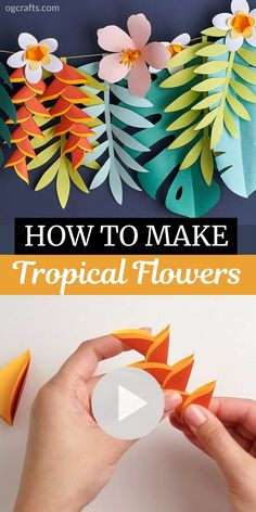 How To Make Paper Flowers, Paper Flowers Craft, Flower Crafts, Paper Crafts, Paper Craft Templates, Plumeria Flowers, Tropical Flowers, Tropical Leaves, Tropical Party Decorations