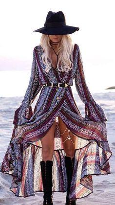 Long boho dress, Coachella style, Coachella dress, Long slit dress, Gypsy dress, Festival look, Coachella fashion