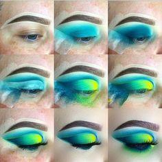 Step by step eye app Natural eye makeup app - Eye Makeup Bright Eye Makeup, Makeup Eye Looks, Eye Makeup Steps, Eye Makeup Art, Colorful Eye Makeup, Colorful Eyeshadow, Bright Eyeshadow, Makeup Light, Green Eyeshadow