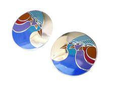 Laurel Burch Earrings Celestial Birds Enamel by zephyrvintage