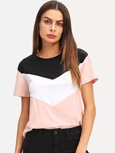 Shop Cut and Sew Tee online. SheIn offers Cut and Sew Tee & more to fit your fashionable needs. Look Fashion, Fashion News, Fashion Styles, Only Play, Latest T Shirt, Cut Shirts, Swagg, Color Blocking, Designer