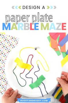 Challenge your kids or students to make a marble maze using a paper plate. This STEM or engineering challenge is a fun activity to do with kids of all ages- from preschool, kindergarten, primary grades and all the way to upper grades. Visit the post to see photos of kid-made mazes and learn ways to extend the activity! Paper plate Crafts for Kids  #stem #stemchallenge #paperplatecraft #craftsforkids #steam #steamchallenge #scienceforkids #homeschool #preschool #kindergarten #firstgrade #ngss Creative Activities For Kids, Fun Activities To Do, Indoor Activities For Kids, Craft Projects For Kids, Easy Crafts For Kids, Art For Kids, Science Activities, Summer Crafts, Creative Kids