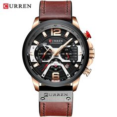 CURREN Casual Sport Watches for Men Blue Top Brand Luxury Military Leather Wrist Watch Man Clock Fashion Chronograph Wristwatch Mens Sport Watches, Watches For Men, Men's Watches, Casual Watches, Black Watches, Leather Watches, Timex Watches, Cheap Watches, Wrist Watches