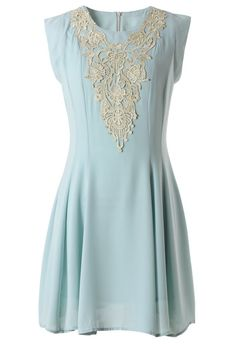 Crochet  Blue Chiffon Dress- this dress is beautiful, I love the color!
