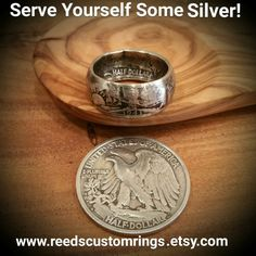 Serve Yourself Some Silver! Get this beautiful vintage silver Walking Liberty Half-Dollar Ring and more @ Www.reedscustomrings.etsy.com   #silver #rings #walking #liberty #dollar #coin #coins #ring #jewelry #teamlove #reedscustomrings #veteran #vintage #walkingliberty #coinring #vintagering #vintagejewelry