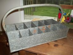 Vintage Galvanized Metal Farmhouse Tote w/handle & compartments