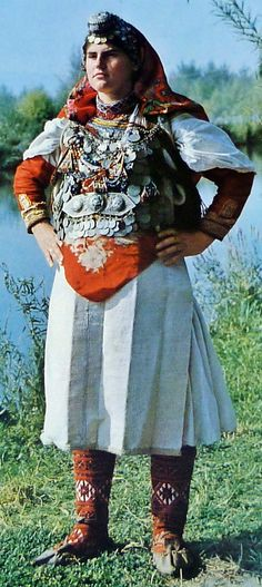 Traditional bridal costume from the Mokër region (Southeastern Albania).  Clothing style: early 20th century.