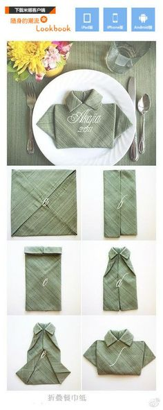 The T-Shirt Fold for Napkins. (too cute for a Fathers Day dinner) 28 Creative Napkin Fold Techniques. T Shirt Folding, Folding Napkins, Paper Napkin Folding, Deco Table, Cloth Napkins, Diy Shirt, Dinner Table, Lunch Table, Dinner Napkins