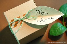 Make these leaf gift tags with herb seed paper like basil, dill or parsley to add a special touch to gifts.