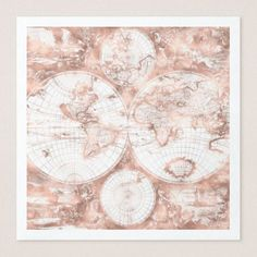 Rose Gold Pink Metal Glitter Antique World Map Paper Dinner Napkin - metallic style stylish great personalize