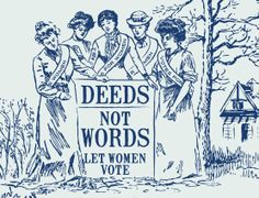 "A detail from the suffragette-tribute toile called ""Deeds Not Words"" - designed by Katey Horn, for sale on Spoonflower under K80Horn. Full print shown on https://www.pinterest.com/pin/49398927137567289/     Has about a 20 x 12 repeat."