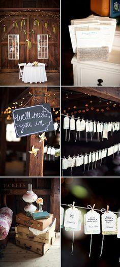 Country barn wedding with vintage travel theme - Justin and Mary Photography   Junebug Weddings