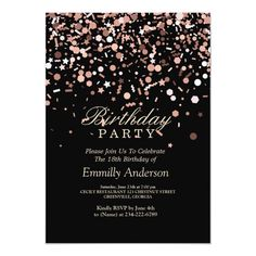 Shop Sparkling Rose Gold & Black Birthday Party Invitation created by PatternPapers. Personalize it with photos & text or purchase as is! 13th Birthday Parties, Gold Birthday Party, Birthday Woman, Birthday Party Invitations, 40th Birthday, Sweet 16 Invitations, Custom Invitations, Invitation Cards, Birthday Ideas