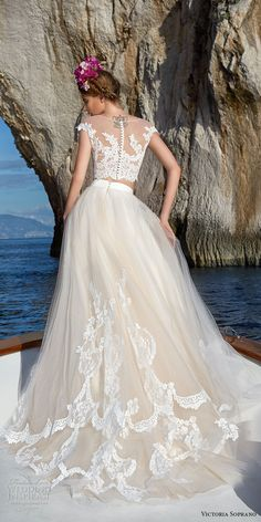 victoria soprano 2017 bridal cap sleeves illusion jewel neck heavily embellished bodice crop top 2 piece romantic a  line wedding dress sheer lace back chapel train (1) bv -- Victoria Soprano 2017 Wedding Dresses #wedding #bridal #wedding #weddingdress