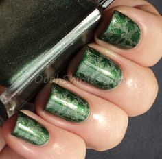 Cadillacquer I'm The One Who Knocks with China Glaze Jolly Holly and plate DRK-C